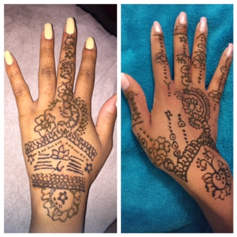 Henna as the paste sets and dries