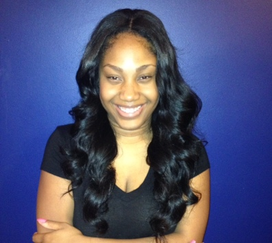 Sew in, dyed black, razored layers for volume w/ wand curls