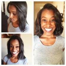 Before(top left), During(bottom left), After(right) Washed/Dried, Cut to Style, Styled-Wand Curls